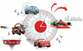 Ceas de perete autocolant camera copiilor - Disney Cars