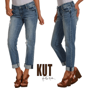 Jeansi vintage Boyfriend KUT from the Kloth cu cusaturi de contrast chic