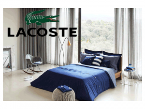 Lenjerie pat Lacoste Brushed Twill Solid Twin Duvet Set bleumarin