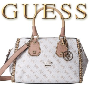 GUESS Confidential Chain Small Frame Geanta Satchel White