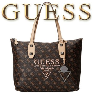 GUESS Passport Geanta Medium Tote Brown Logo
