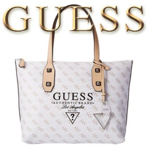 GUESS Passport Geanta Medium Tote White Logo