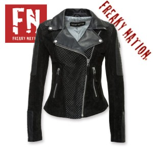 Geaca de Piele Dama Freaky Nation Neagra Performance model slim fit BIKER