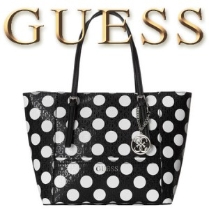 Geanta GUESS Delaney Small Classic Tote Dots Black and White