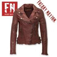 Geci din Piele naturala Biker Slim Fit Freaky Nation de Dama