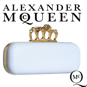 Clutch Alexander McQueen Knuckle Box Bleu