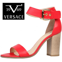 Sandale inalte Versace V1969 Lilas rosii din piele naturala