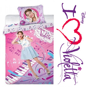 Lenjerie pat copii bumbac Disney Violetta Music Pop Star