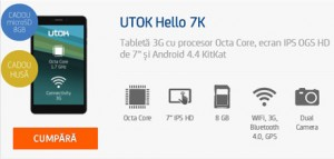 Review Tableta UTOK Hello 3G GSM 7K