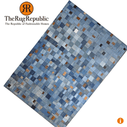 Covor din denim reciclat si piele The Rug Republic