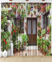 Draperie 3D Mediterranean house entrance with flowers