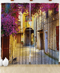 Draperie 3D Traditional Mediterranean street with a cat