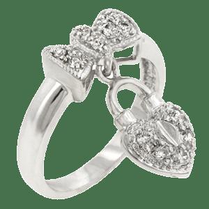 Cadou de Sfantul Valentin: Bijuterie inel din rodiu suflat cu aur