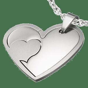 Pandantiv doua inimioare pentru indragostiti