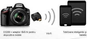 Nikon D-SLR 3200 poate fi conectat la telefonul mobil smartphone si la tableta