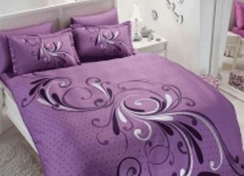 Lenjerie de pat pentru doua persoane din satin colorat mov