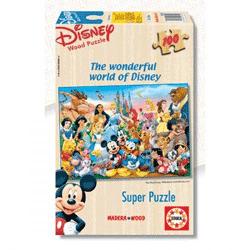 Puzzle din lemn cu 100 de piese pentru copii de 3 ani cu Mickey Mouse Clubhouse de la Madera