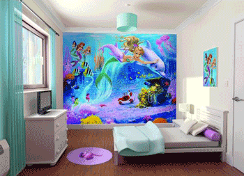 Tapet dormitor fetite Walltastic Mica Sirena