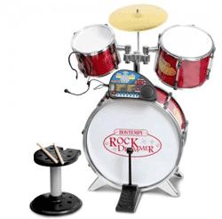 Set de tobe compus din toba de bass cu diametruld de 43 cm. cu pedala, casti, volum, microfon si scaun