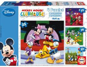 Educa va ofera cea mai complexa gama de puzzle-uri, incepand de la puzzle pentru bebelusi cu 5 piese si pana la puzzle de 24000 de piese destinate exclusiv pentru adulti. Fiecare cutie contine 4 puzzle-uri cu un numar diferit de bucati pentru fiecare (12, 16, 20, 25 de piese) reprezentand imagini cu personajele Disney. Recomandate copiilor pentru a incerca puzzle-uri mai dificile pe masura ce cresc si invata sa le rezolve. Imaginile au culori atractive, puternice si un luciu care atrage atentia.
