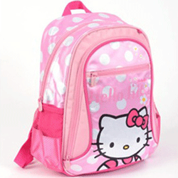 Rucsac mare pentru gradinita Hello Kitty cu maner textil si bretele pentru luat la spate ajustabile.
