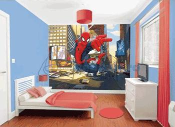 Tapet autocolant camera copii cu Spider Man