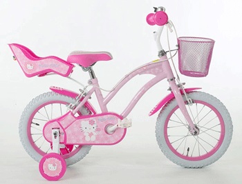 Bicicleta Hello Kitty Cruise Flowers, pentru fetite cu varsta intre 4 si 7 ani are saua si ghidonul reglabile pe inaltime, pentru o pozitie de pedalat corecta.