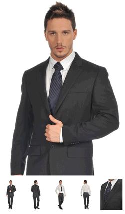 Un costum barbatesc Clasic Valentino, realizat din stofa foarte fina colorata intr-o nuanta foarte inchisa de bleumarin