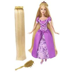 Papusa Rapunzel cu par lung si rochie mov