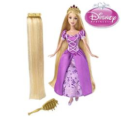 Papusa-printesa Disney Rapunzel cu parul lung si blond, articulata si cu accesorii.