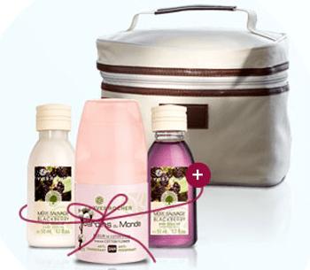 Yves Rocher cadou: Deodorant Roll On + Gel de dus + Lapte catifelat pentru corp Mure + trusa farduri