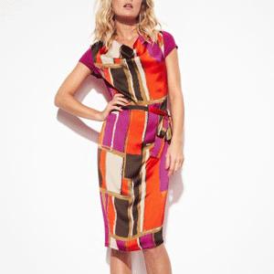 Rochie colorata Votre Mode cu imprimeu din satin