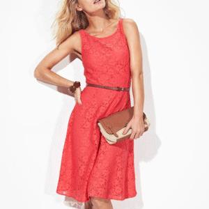 Rochie de vara din dantela rosie si combinezon