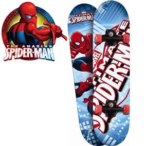 Skateboard pentru copii, foarte rezistent din 9 straturi, imprimat pe ambele parti cu motive Spiderman si roti din PVC.