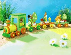 Decoratiune Trenulet cu Iepurasi de Paste din lemn