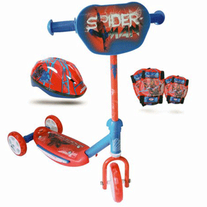 Trotineta SPIDERMAN cu 3 roti, antiderapanta si accesorii de protectie: casca, genunchiere si cotiere