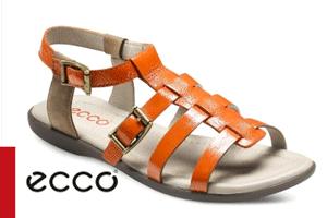 Sandale ECCO portocalii din piele neteda, lacuita de capra, cu design clasic în stil roman.