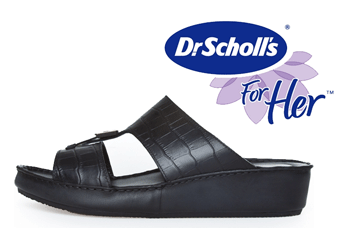 Papucii negri cu talpa groasa Dr Scholl sunt confectionati in intregime din piele naturala, decupati in partea din fata si au barete unite intre ele.