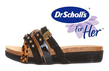 Papucii Dr. Scholl Gomeri de culoare neagra sunt confectionati din piele intoarsa si lacuita, au branturi si talpa din cauciuc.