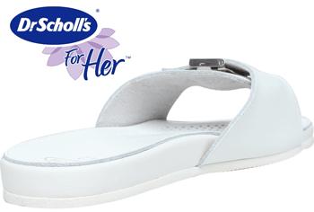 Papuci albi profesionali Dr Scholl. Papucii sunt decupati in partea din fata si au o bareta decorativa cu o catarama. Asa cum ne-a obisnuit incaltamintea de la Dr. Scholl sunt deosebit de comozi si totodata simpli