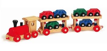 Trenulet de jucarie din lemn cu vagoane