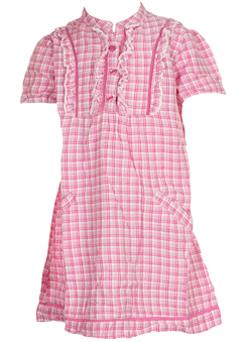 Rochita roz cu carouri pentru fetite 4-5 ani
