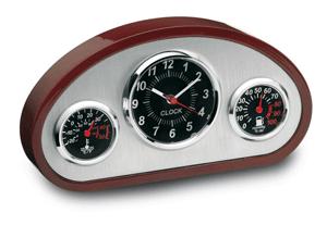 Staţie meteo cu ceas, termometru şi hidrometru, sub formă de bord de maşină, prevăzută cu suport din lemn de trandafir şi plăcuţă din metal - un cadou perfect.