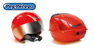 Set casca si portbagaj pentru motocicletele Peg Perego.