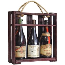 Caseta deschisa cu maner, din lemn vechi pentru trei sticle de vin. Aceasta cutie de vin este foarte eleganta si reprezinta o excelenta idee de cadou ceva mai deosebit.
