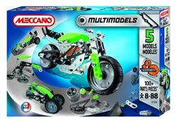 Setul de constructie Meccano 5 module contine 110 de piese din metal flexibil, cu ajutorul carora se pot asambla 5 modele diferite de masini, dar nu simultan.