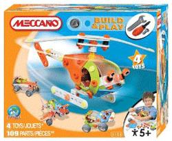 Joc de constructie Meccano Elicopter. Se pot construi 4 modele diferite de jucarii