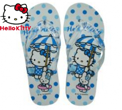 Slapi de plaja Hello Kitty bleu