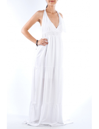 Rochie lunga alba din bumbac