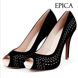 Pantofi Epica Peep Toe piele intoarsa
